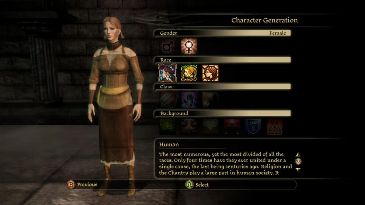 Character Creation select race